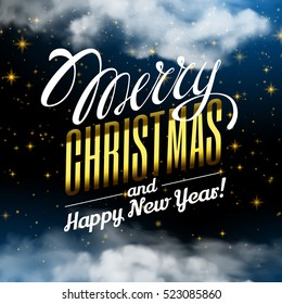 Marry Christmas and Happy New Year. Magic Christmas Cloud. Shining Stars. Night sky abstract. Vector illustration. Fairy Dust. Winter holiday blue background.