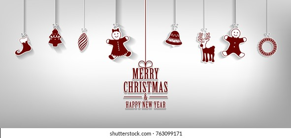 Marry Christmas and Happy New Year greeting card with hanging Christmas elements Vector background