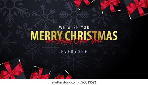 marry christmas and happy new year banner on dark background with snowflakes vector illustration