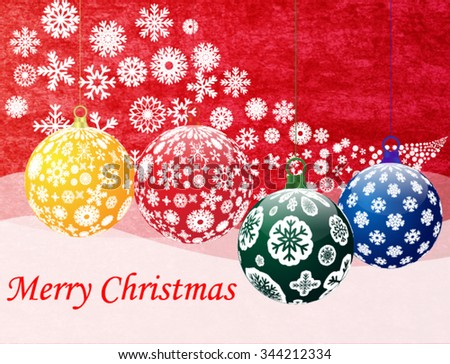 marry christmas and happy new year 2016 celebration red grunge background with snowflake border frame