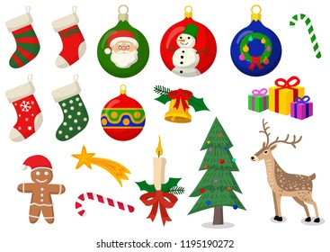 Marry Christmass vector set. Colorfull isolated objects