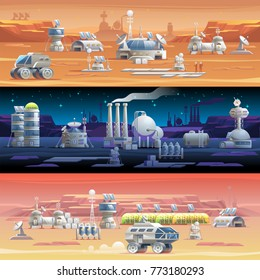 Mars colonization Astronomy Colonization of space Solar System exploration The first colonies Space planet austronaut station Vector illustration