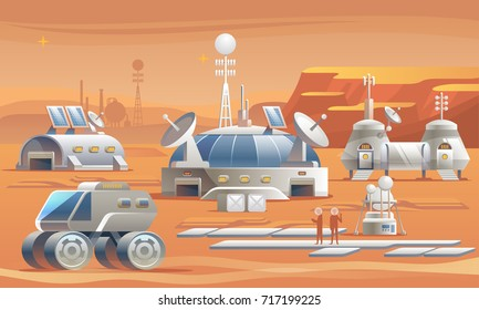 Mars Colonization. Communication Center with Residential Compartments and Base Infrastructure. Vector illustration