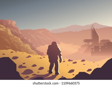 Mars colonization futuristic landscape with colony base and astronaut illustration