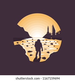 Mars colonization futuristic landscape with colony base and astronaut.Negative space illustration.