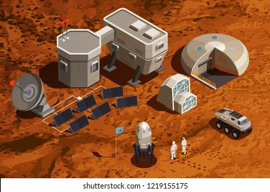 Mars colonization isometric background with equipment for scientific research and communications space ship and astronauts vector illustration