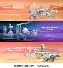 Mars Colonization Terraforming Exploration Red planet Vector web banners