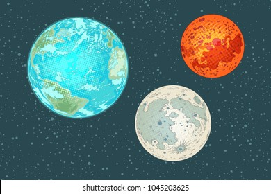 Mars earth and moon, planets of the solar system. Pop art retro vector illustration comic cartoon vintage kitsch drawing