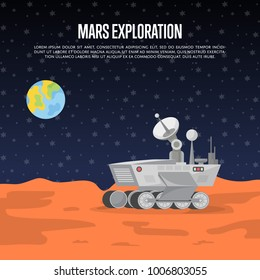 Mars exploration poster with research rover on surface of red planet. Robotic autonomous vehicles for space discovery. Mars rover with camera, wheels, antenna and hand manipulator vector illustration