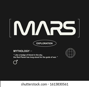 mars fashion slogan for different apparel and T-shirt. - Vector