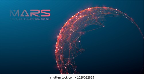 Mars - the fourth planet from the sun, polygonal design, futuristic space or data and technology concept, 3d vector illustration with virtual reality effect, abstract tech background.