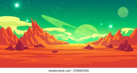 地球外の惑星の背景に火星の景観、山、クレーター、土星、星が緑の空に輝く赤い砂漠の表面。地球外の火星のコンピューターゲーム背景、カートーンベクターイラスト