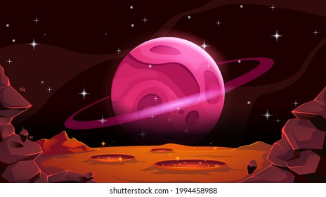 Mars landscape with alien planet in cosmos. Empty red desert with pits and craters. Vector cartoon illustration.