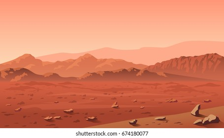 Mars landscape with mountains