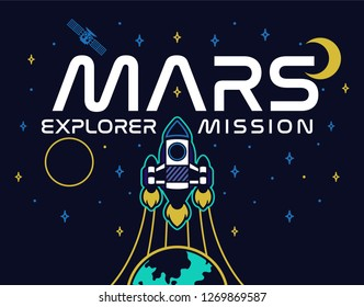 Mars mission rocket fly up in space explore colonization of red planet Mars stars satellite spaceship astronaut. Trendy fashion print t shirt sweatshirt poster sticker patch embroidery graphic design.