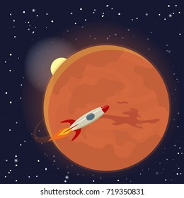 Mars orbit and rocket. Vector Illustration.