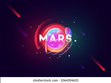 Mars planet bright abstract illustration. Space theme art background