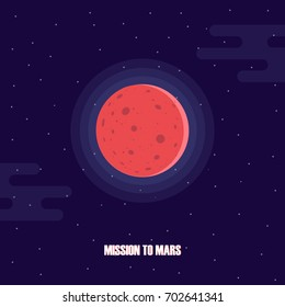 Mars planet exploration. Mission to Mars. Mars colonization project. Vector illustration.