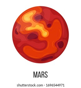 Mars planet isolated on white background. Planet of solar system. Cartoon style vector illustration for any design.