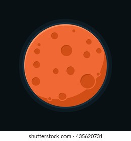 Mars planet vector. Globe Mars texture map in flat style. Globe vector Mars view from space. Red planet solar system.