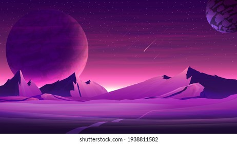 Mars purple space landscape with large planets on purple starry sky, meteors and mountains. Nature on another planet with a huge planet on the horizon