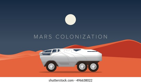 Mars rover poster Vector illustration on the theme of space exploration and mars colonization