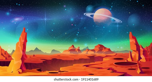 Mars surface landscape, alien planet background, Saturn on starry sky. Vector red desert with mountains, craters and shining stars. Martian extraterrestrial computer game backdrop, cartoon world