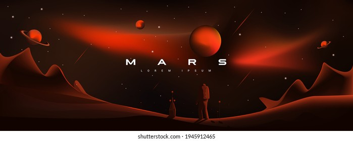 Mars vector illustration. Martian landscape, astronaut landing on the planet. Planets Saturn and Jupiter, planetary exploration, colonization, red aggressive, militant planet Mars.