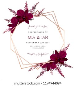 Marsala colored dark exotic orchid, burgundy red astilbe vector design fall frame. Pink gold polygonal line art with shimmer. Geometric card. Autumn chic wedding invitation. Isolated and editable.