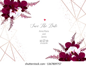 Marsala colored dark and white orchid, burgundy red astilbe vector design fall frame. Pink gold polygonal line art with shimmer. Geometric card. Autumn chic wedding invitation. Isolated and editable.