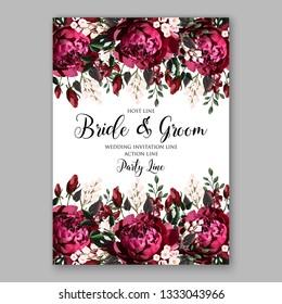 Marsala dark red peony bridal shower invitation vector greenery background Rose Floral Wedding Invitation Card Template Vector