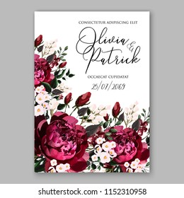 Marsala dark red peony wedding invitation vector floral background