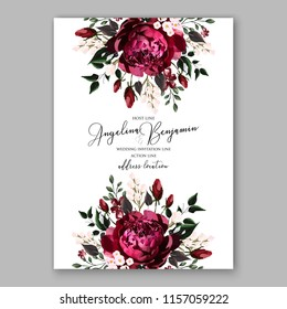 Burgundy Flowers Watercolor Stock Vectors Images Vector