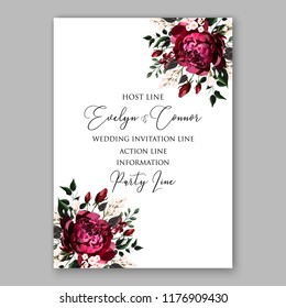 Marsala peony Rose wedding invitation card template peony ranunculus vector background for baby shower bridal shower invitation Winter floral pattern floral vector set