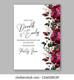 Marsala peony wedding invitation
