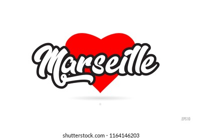 marseille city text design with red heart typographic icon design suitable for touristic promotion