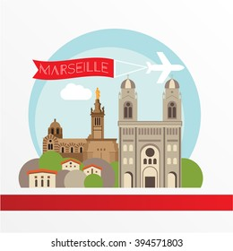 Marseille detailed silhouette. Trendy vector illustration, flat style. Stylish colorful  landmarks. The concept for a web banner. Notre-Dame de la Garde and  - The symbol of MArseille, France