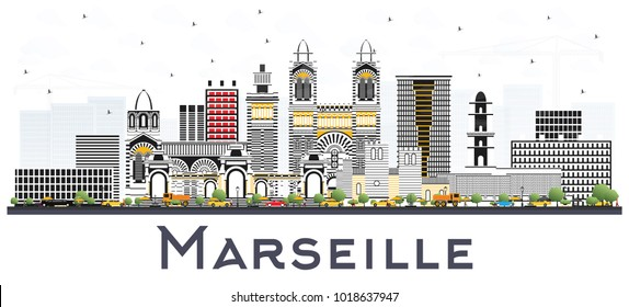 Marseille France City Skyline with Gray Buildings Isolated on White. Vector Illustration. Business Travel and Tourism Concept with Historic Architecture. Marseille Cityscape with Landmarks.