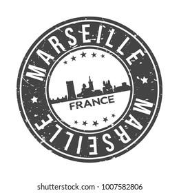Marseille France Europe Stamp Logo Icon Symbol Design Skyline City