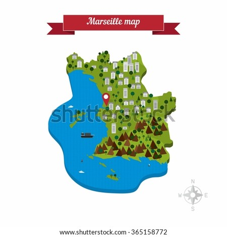 Marseille France Map Flat Style Design Stock Vector Royalty Free