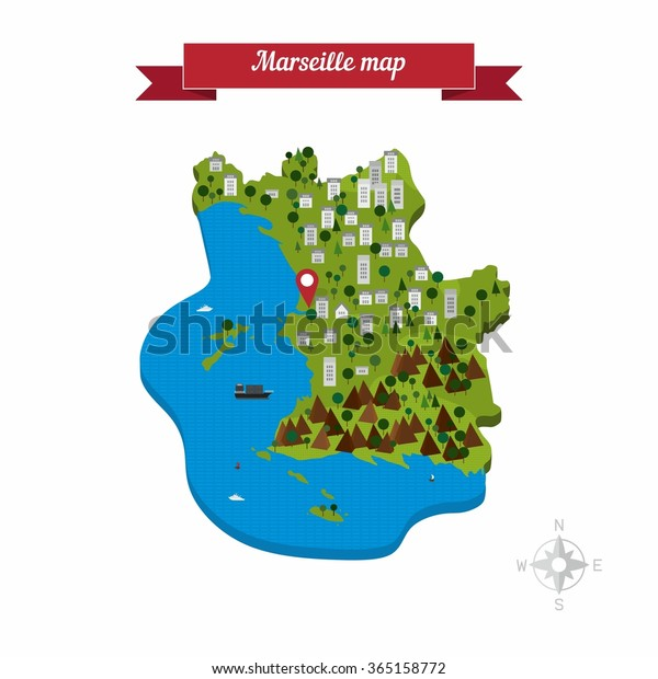 Marseille On Map Of France.Marseille France Map Flat Style Design Stock Vector Royalty Free