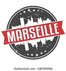 Marseille France Round Travel Stamp Icon Skyline City Design