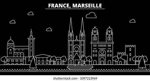 Marseille silhouette skyline. France - Marseille vector city, french linear architecture, buildings. Marseille travel illustration, outline landmarks. France flat icons, french line banner