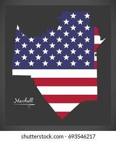 Marshall county map of Alabama USA with American national flag illustration