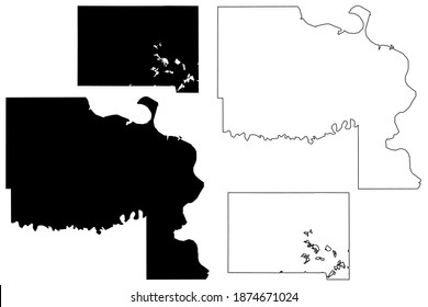 Marshall and Lyman County, State of South Dakota (U.S. county, United States of America, USA, U.S., US) map vector illustration, scribble sketch map