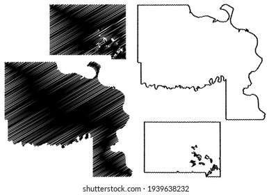 Marshall and Lyman County, State of South Dakota (U.S. county, United States of America) map vector illustration, scribble sketch map