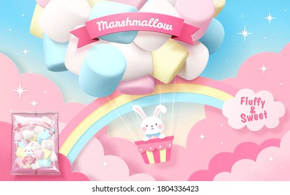 Marshmallow ad in 3d illustration with bunny flying in colorful marshmallow balloon with rainbow in sky