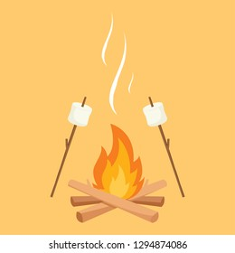 marshmallow and bonfire vector. free space for text. wallpaper.