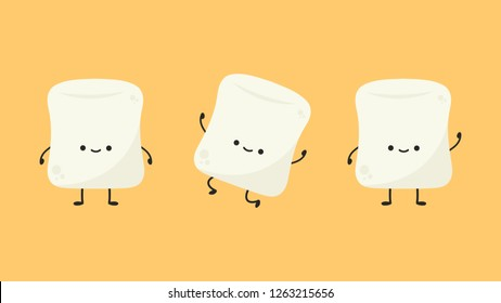marshmallow cartoon. marshmallow character design. set.