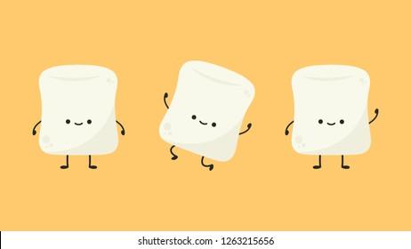 marshmallow cartoon. marshmallow character design. set.